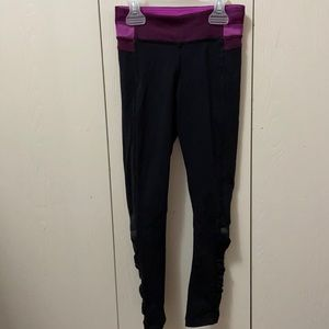 Ivivva Black Leggings with Purple Waistband